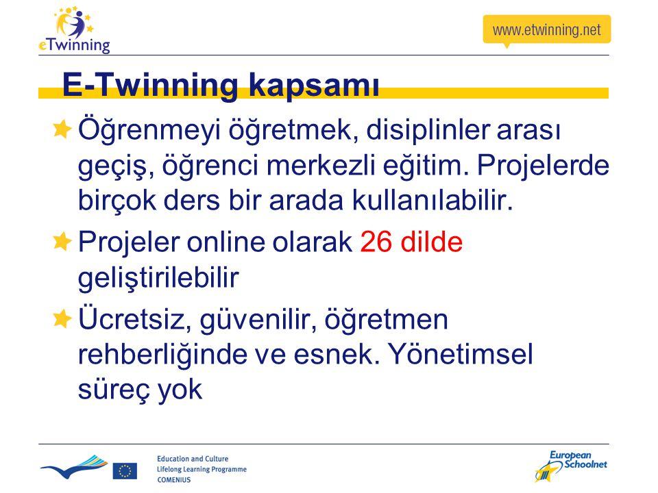 E-Twinning kapsamı Öğrenmeyi öğretmek, disiplinler arası geçiş, öğrenci merkezli eğitim. Projelerde birçok ders bir arada kullanılabilir.