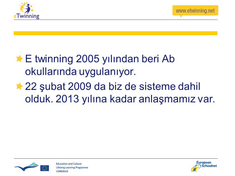 E twinning 2005 yılından beri Ab okullarında uygulanıyor.