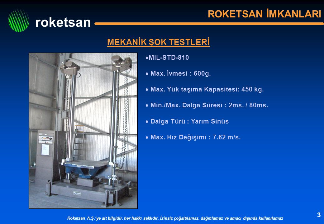 ROKETSAN İMKANLARI MEKANİK ŞOK TESTLERİ MIL-STD-810