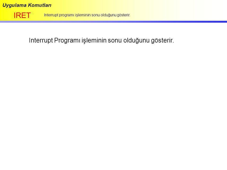 IRET Interrupt Programı işleminin sonu olduğunu gösterir.