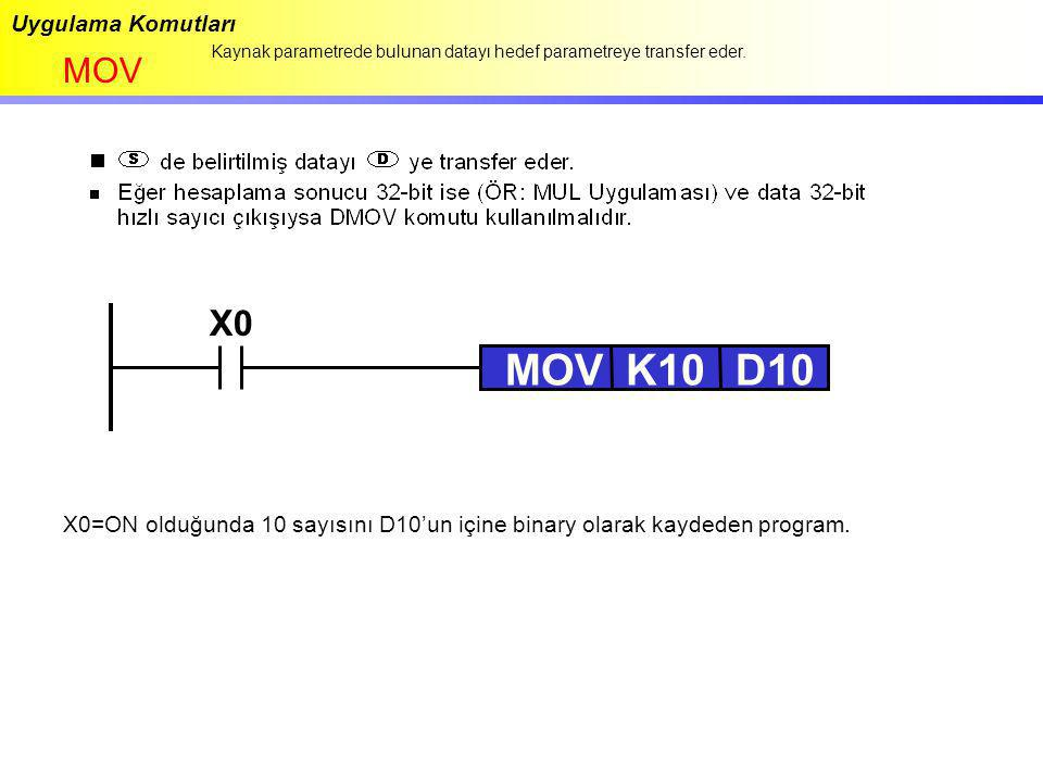 MOV K10 D10 X0 MOV Uygulama Komutları