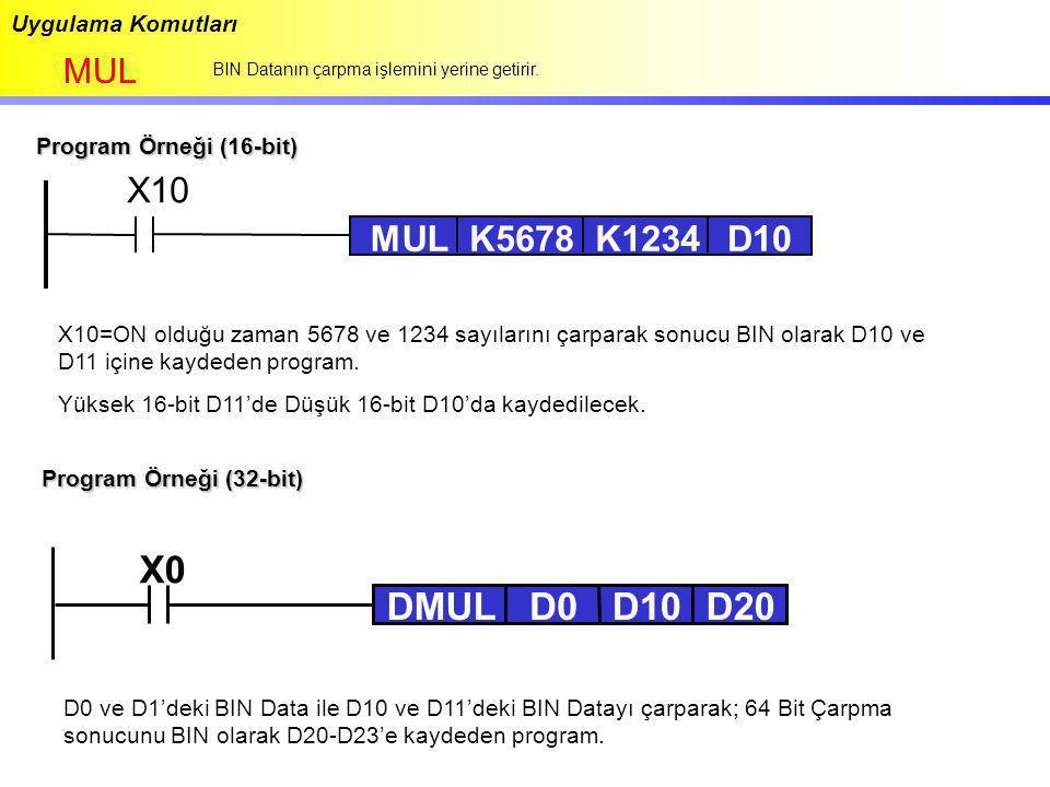 X0 DMUL D0 D10 D20 X10 MUL K5678 K1234 D10 MUL Uygulama Komutları
