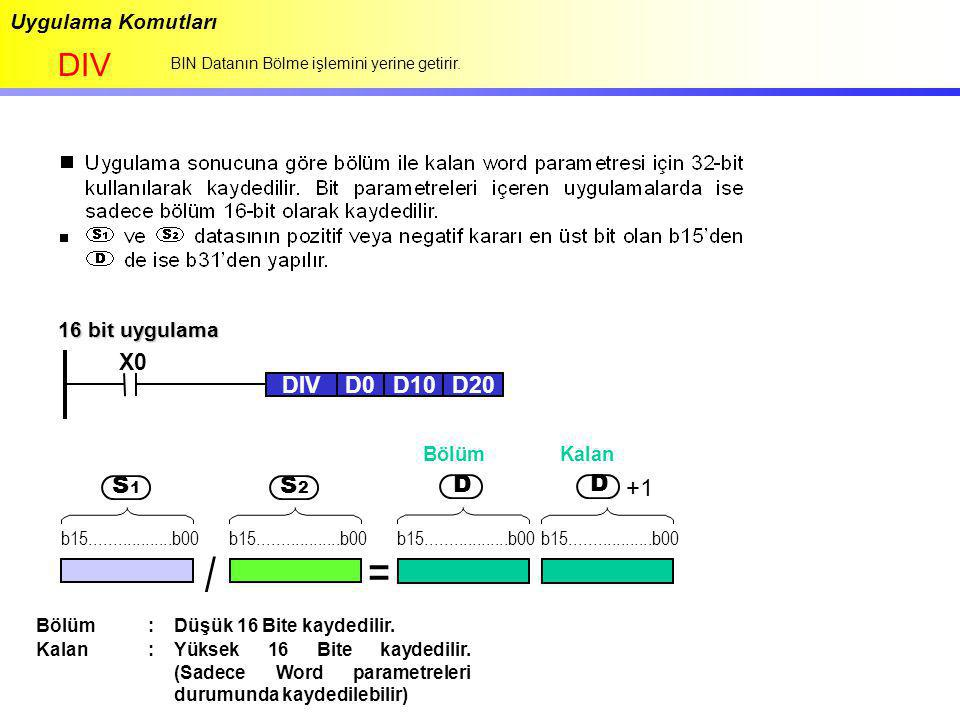 / = DIV S S D +1 D X0 DIV D0 D10 D20 Uygulama Komutları