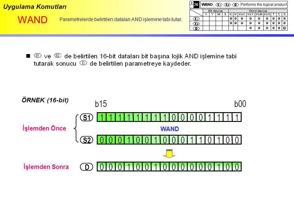 Uygulama Komutları WAND. Parametrelerde belirtilen dataları AND işlemine tabi tutar. ÖRNEK (16-bit)
