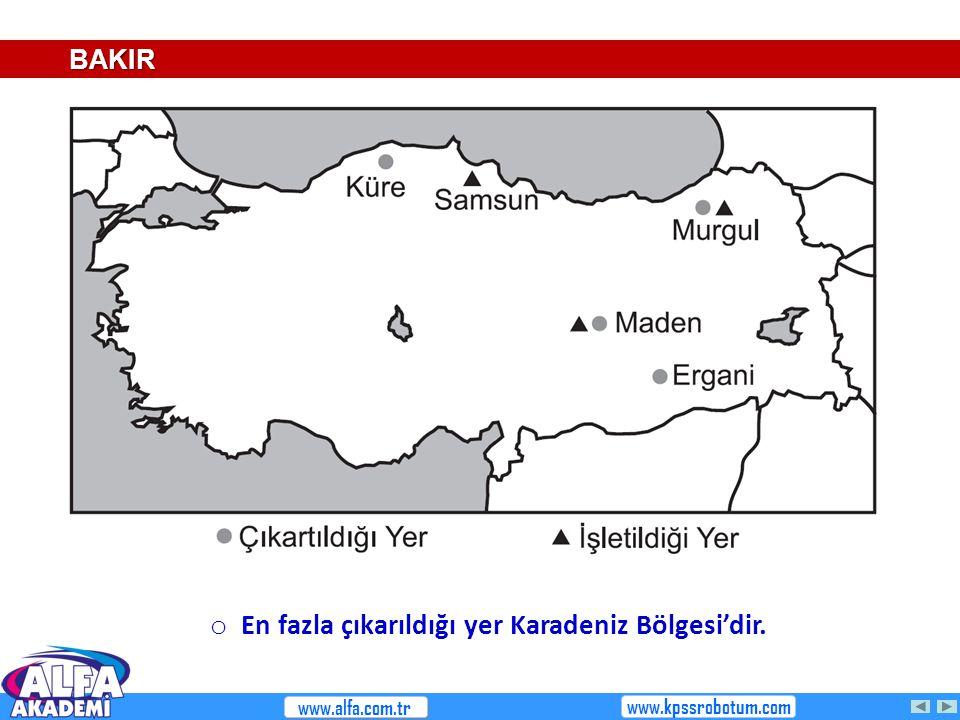 En fazla çıkarıldığı yer Karadeniz Bölgesi'dir.