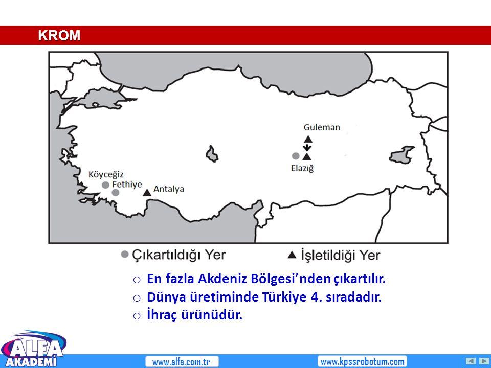 En fazla Akdeniz Bölgesi'nden çıkartılır.
