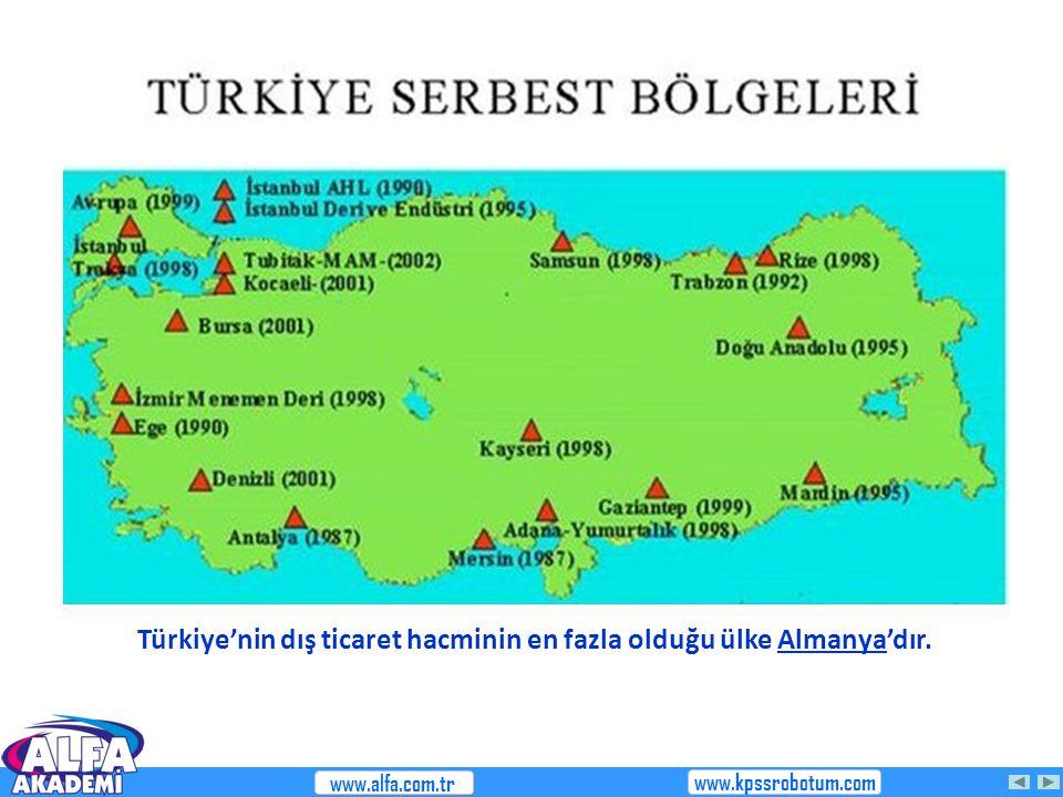 Türkiye'nin dış ticaret hacminin en fazla olduğu ülke Almanya'dır.