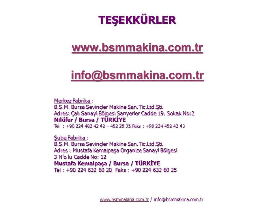 TEŞEKKÜRLER www.bsmmakina.com.tr info@bsmmakina.com.tr