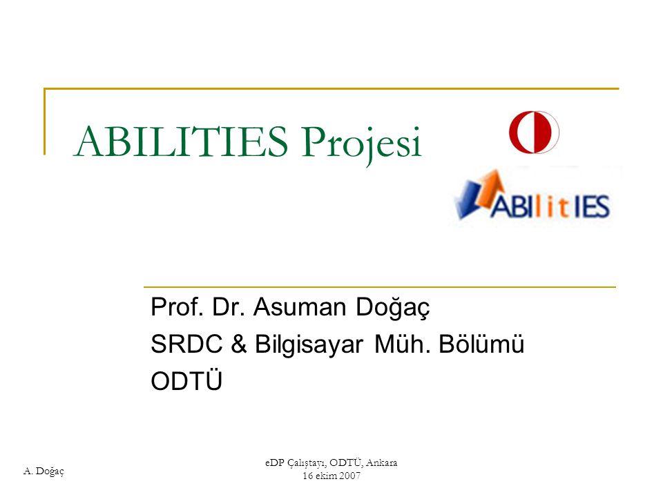 Prof. Dr. Asuman Doğaç SRDC & Bilgisayar Müh. Bölümü ODTÜ