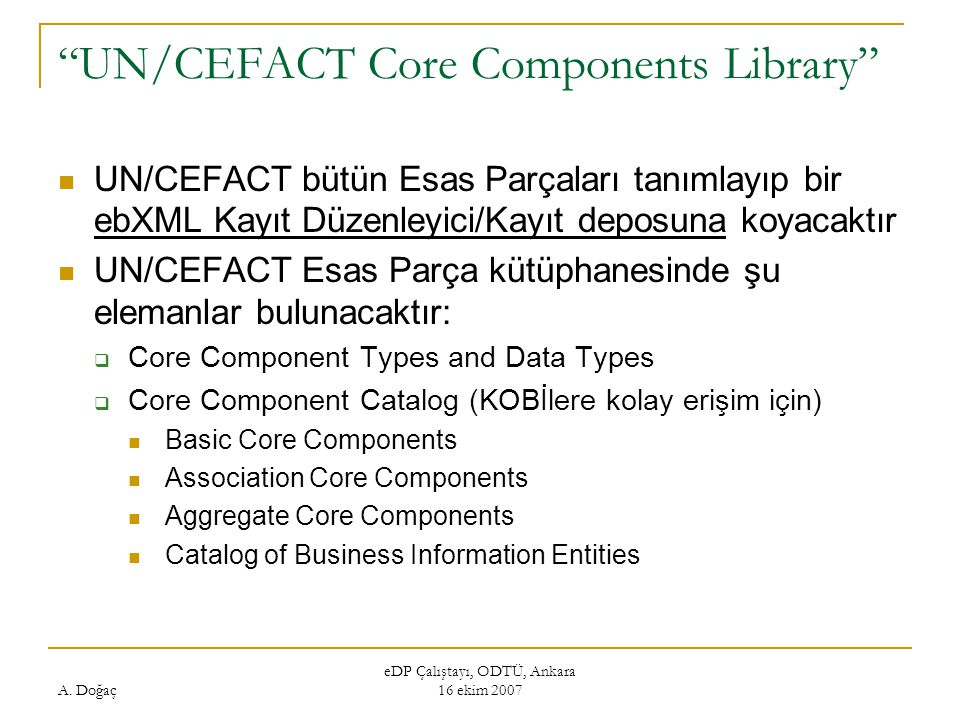 UN/CEFACT Core Components Library