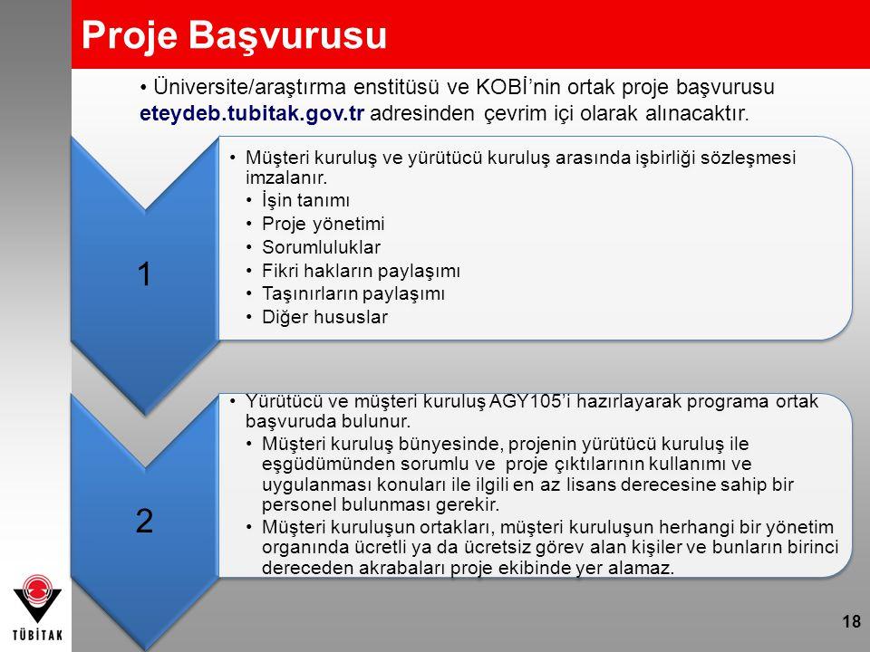Proje Başvurusu Üniversite/araştırma enstitüsü ve KOBİ'nin ortak proje başvurusu eteydeb.tubitak.gov.tr adresinden çevrim içi olarak alınacaktır.