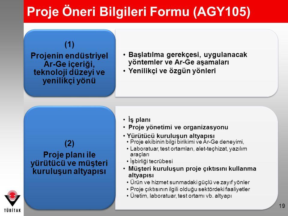 Proje Öneri Bilgileri Formu (AGY105)