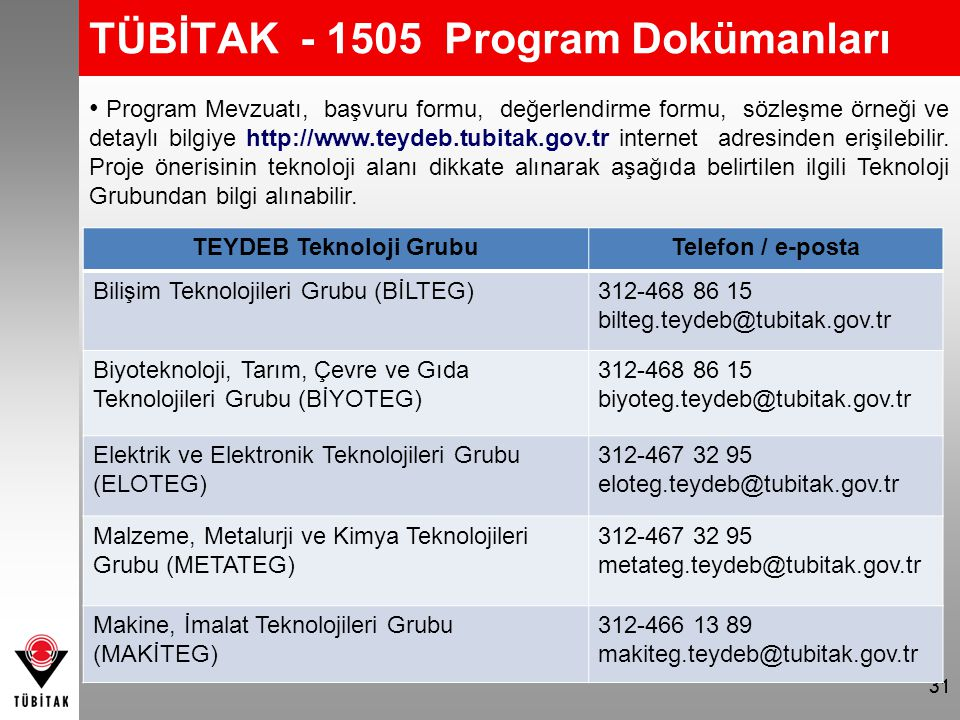 TÜBİTAK - 1505 Program Dokümanları