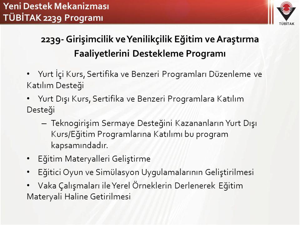 Yeni Destek Mekanizması TÜBİTAK 2239 Programı