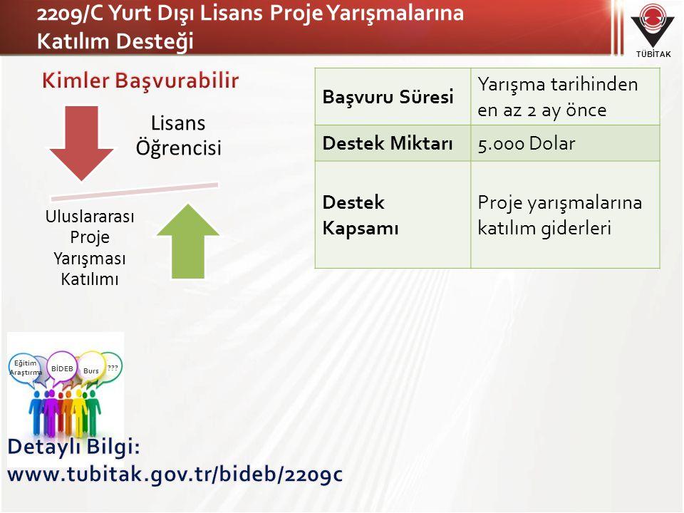 2209/C Yurt Dışı Lisans Proje Yarışmalarına Katılım Desteği