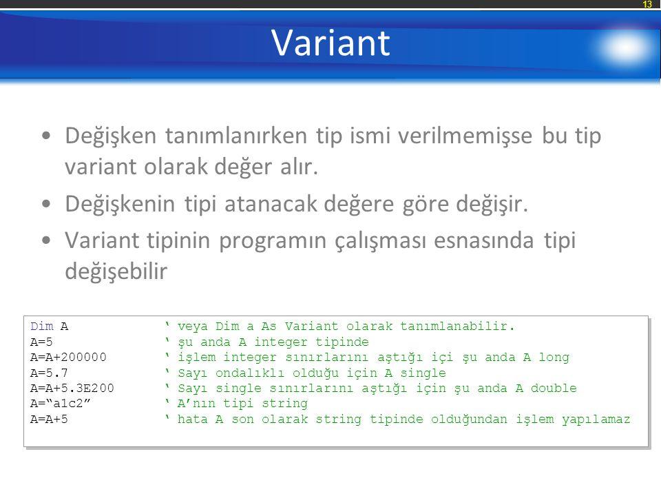 Variant Değişken tanımlanırken tip ismi verilmemişse bu tip variant olarak değer alır. Değişkenin tipi atanacak değere göre değişir.