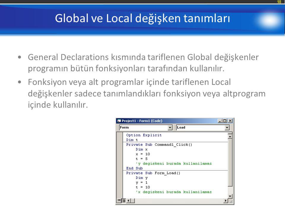Global ve Local değişken tanımları