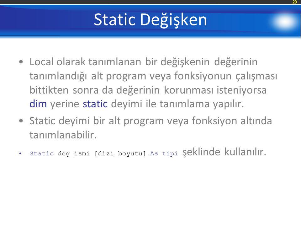 Static Değişken