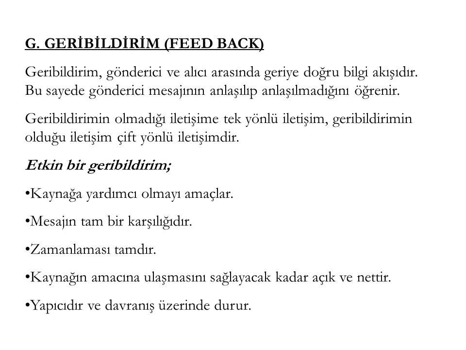 G. GERİBİLDİRİM (FEED BACK)