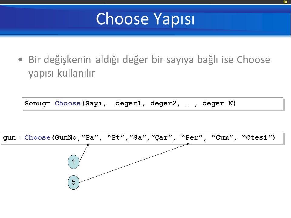 Choose Yapısı Bir değişkenin aldığı değer bir sayıya bağlı ise Choose yapısı kullanılır. Sonuç= Choose(Sayı, deger1, deger2, … , deger N)