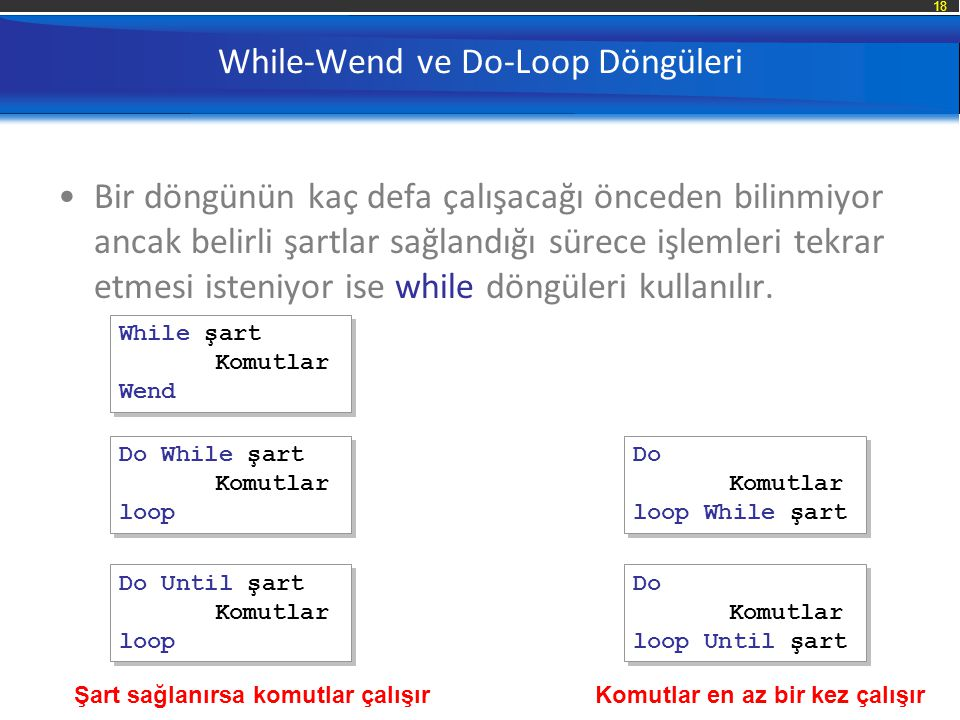 While-Wend ve Do-Loop Döngüleri