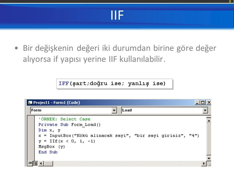 IIF Bir değişkenin değeri iki durumdan birine göre değer alıyorsa if yapısı yerine IIF kullanılabilir.