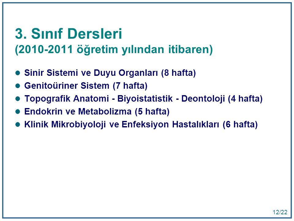 3. Sınıf Dersleri (2010-2011 öğretim yılından itibaren)
