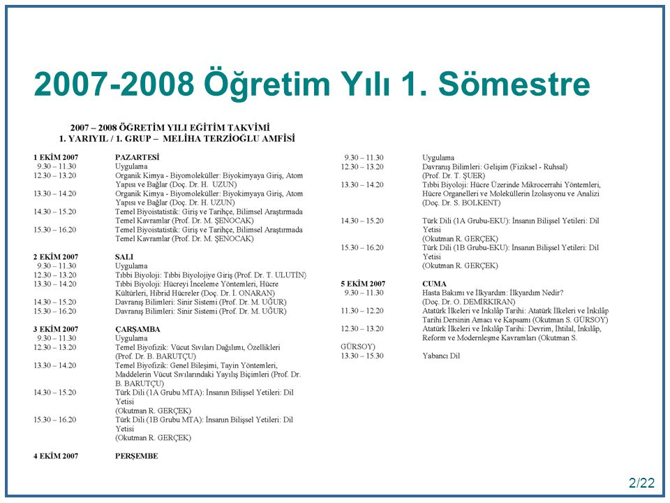 2007-2008 Öğretim Yılı 1. Sömestre