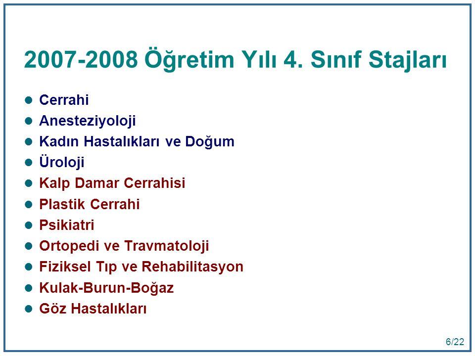2007-2008 Öğretim Yılı 4. Sınıf Stajları
