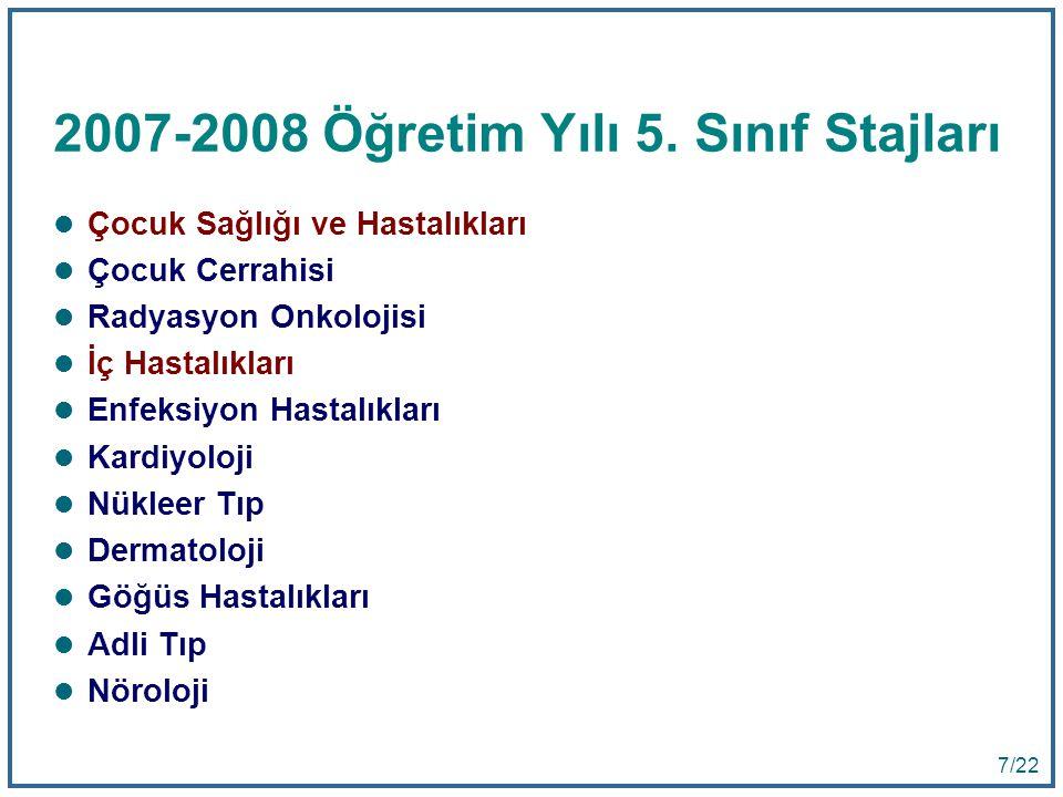 2007-2008 Öğretim Yılı 5. Sınıf Stajları