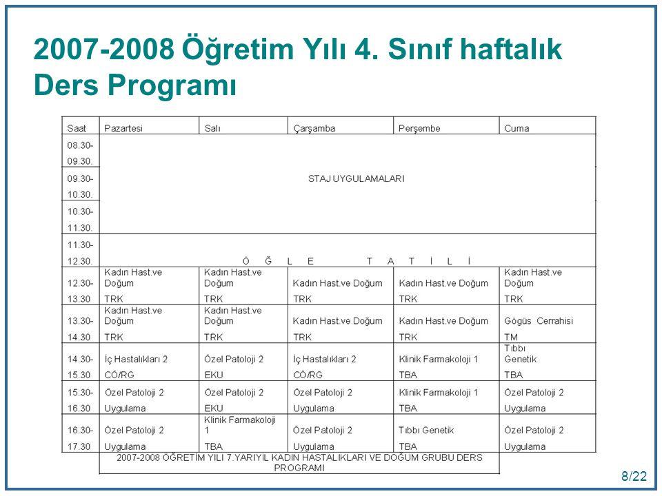 2007-2008 Öğretim Yılı 4. Sınıf haftalık Ders Programı