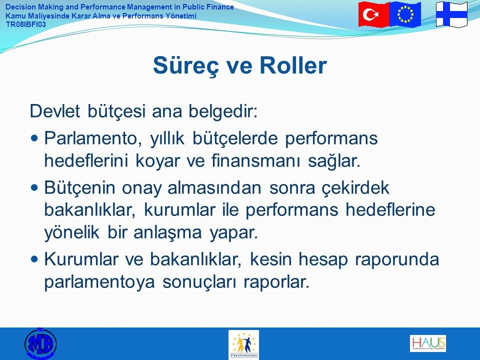 Süreç ve Roller Devlet bütçesi ana belgedir: