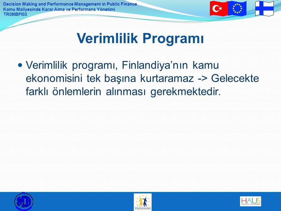Verimlilik Programı Verimlilik programı, Finlandiya'nın kamu ekonomisini tek başına kurtaramaz -> Gelecekte farklı önlemlerin alınması gerekmektedir.