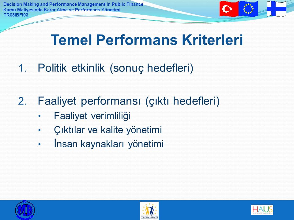 Temel Performans Kriterleri