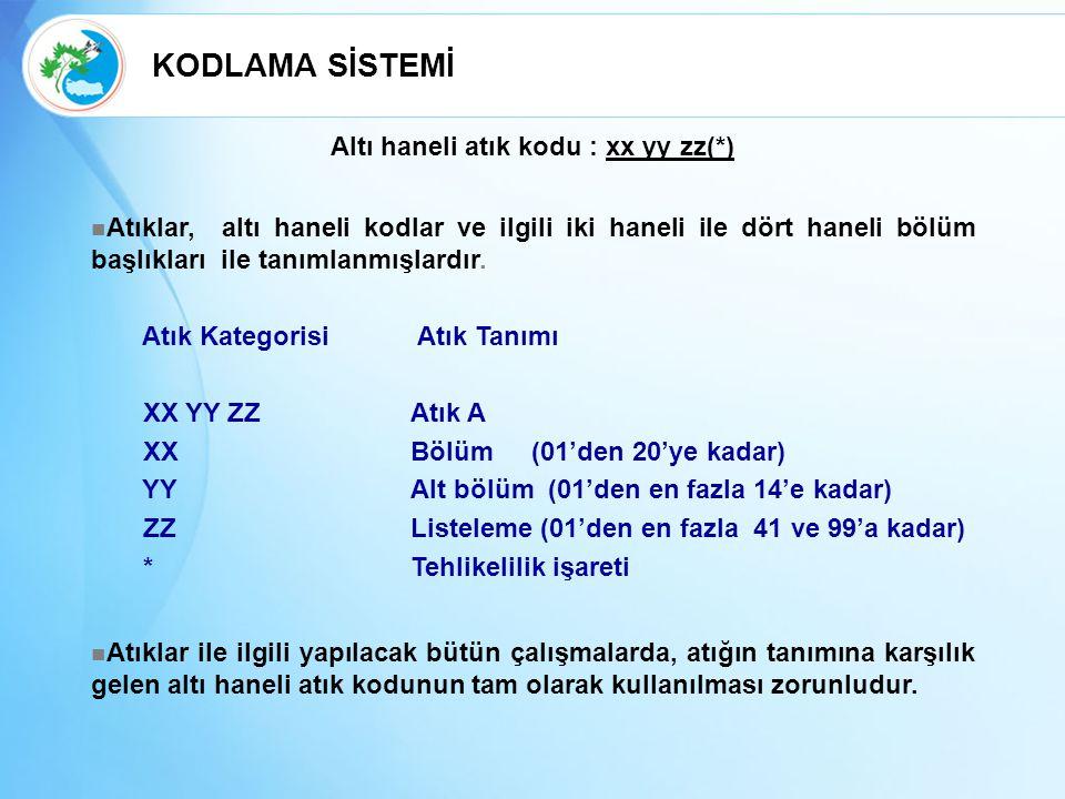 Altı haneli atık kodu : xx yy zz(*)