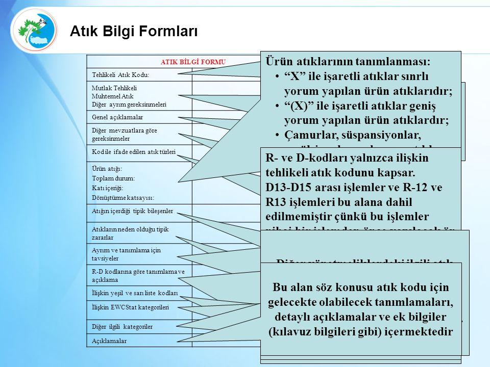 Atık Bilgi Formları Ürün atıklarının tanımlanması: