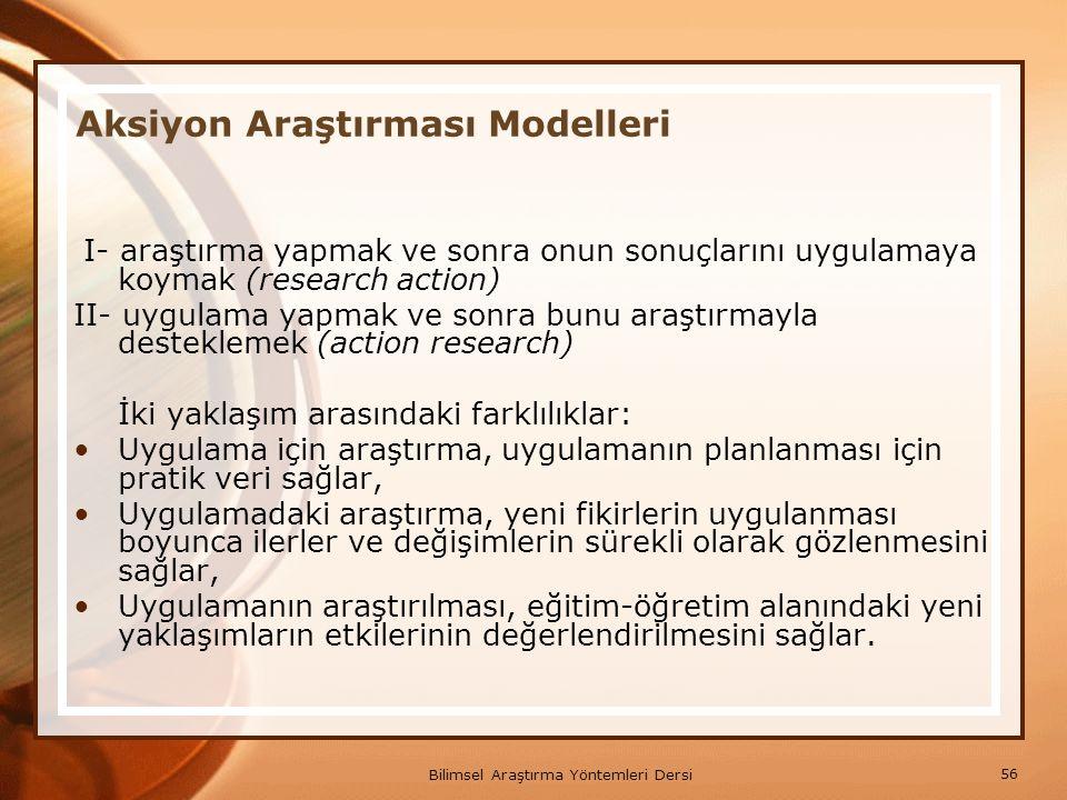 Aksiyon Araştırması Modelleri