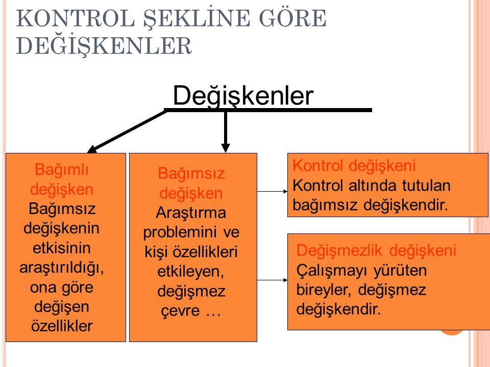 KONTROL ŞEKLİNE GÖRE DEĞİŞKENLER