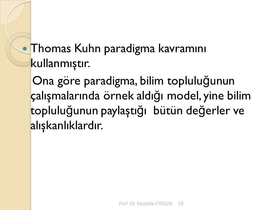 Thomas Kuhn paradigma kavramını kullanmıştır.