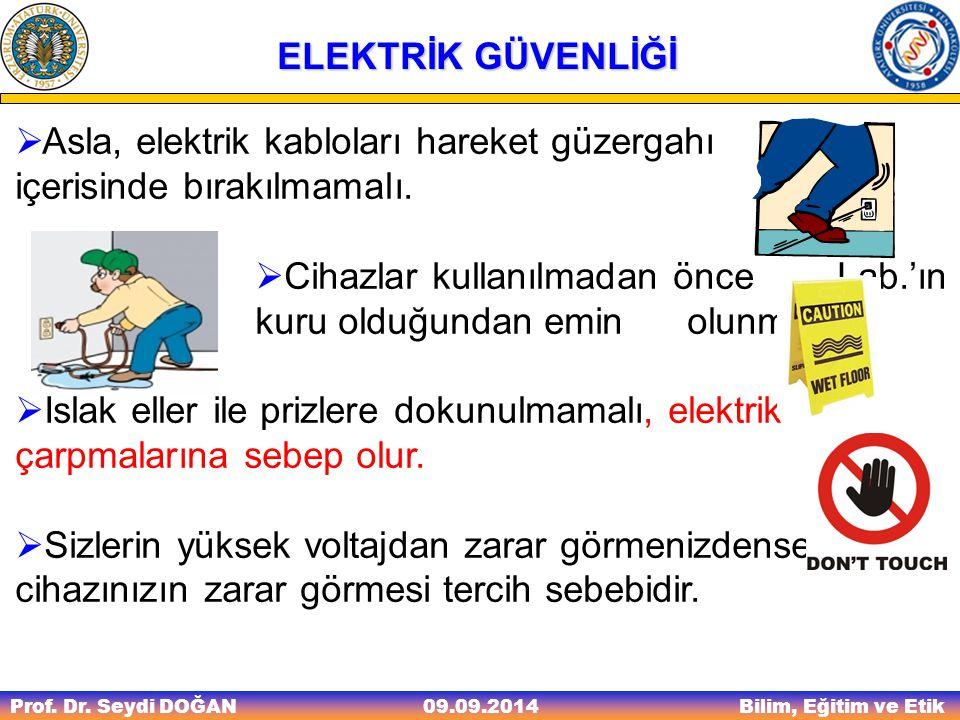 Asla, elektrik kabloları hareket güzergahı içerisinde bırakılmamalı.