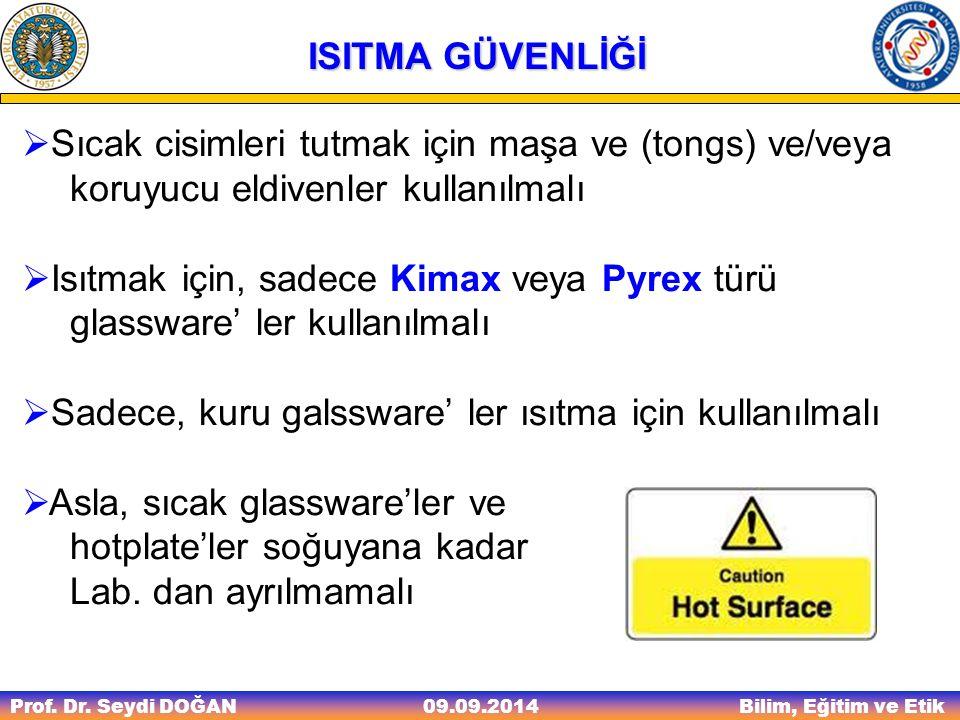 Isıtmak için, sadece Kimax veya Pyrex türü glassware' ler kullanılmalı