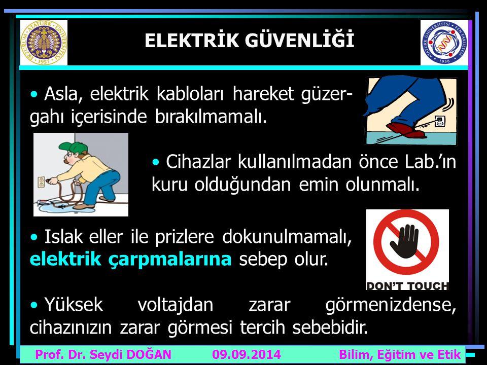 Asla, elektrik kabloları hareket güzer- gahı içerisinde bırakılmamalı.