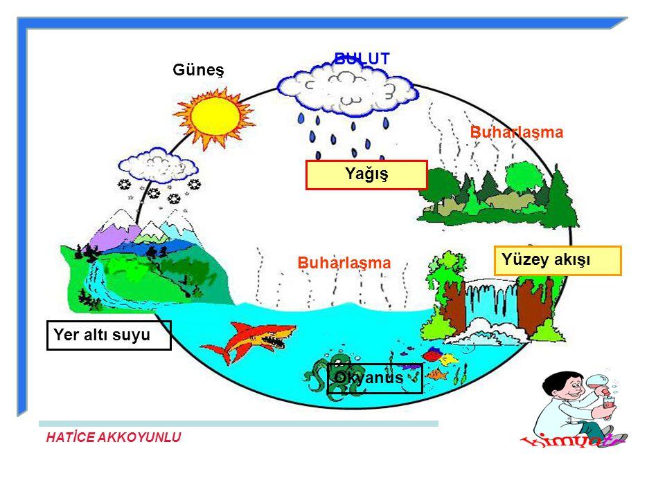 BULUT Güneş Buharlaşma Yağış Yüzey akışı Buharlaşma Yer altı suyu