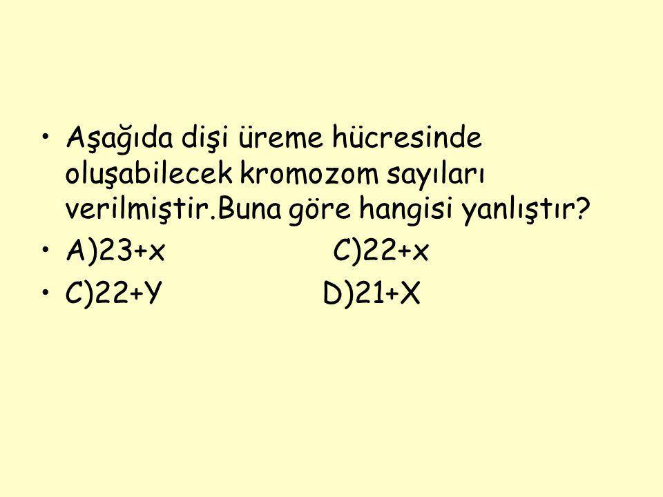 Aşağıda dişi üreme hücresinde oluşabilecek kromozom sayıları verilmiştir.Buna göre hangisi yanlıştır