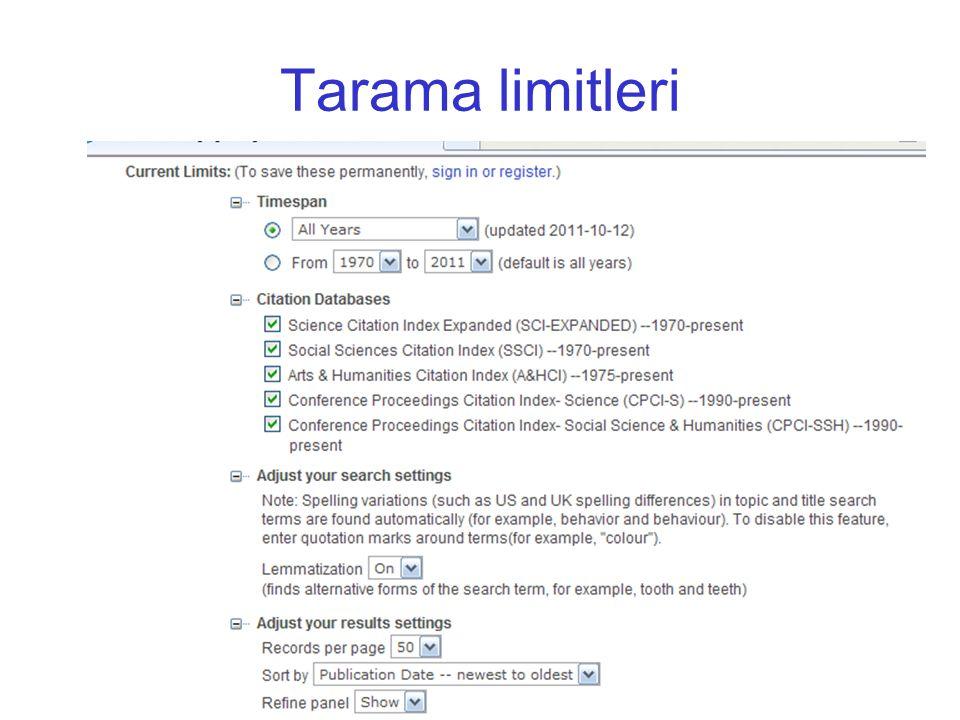 Tarama limitleri