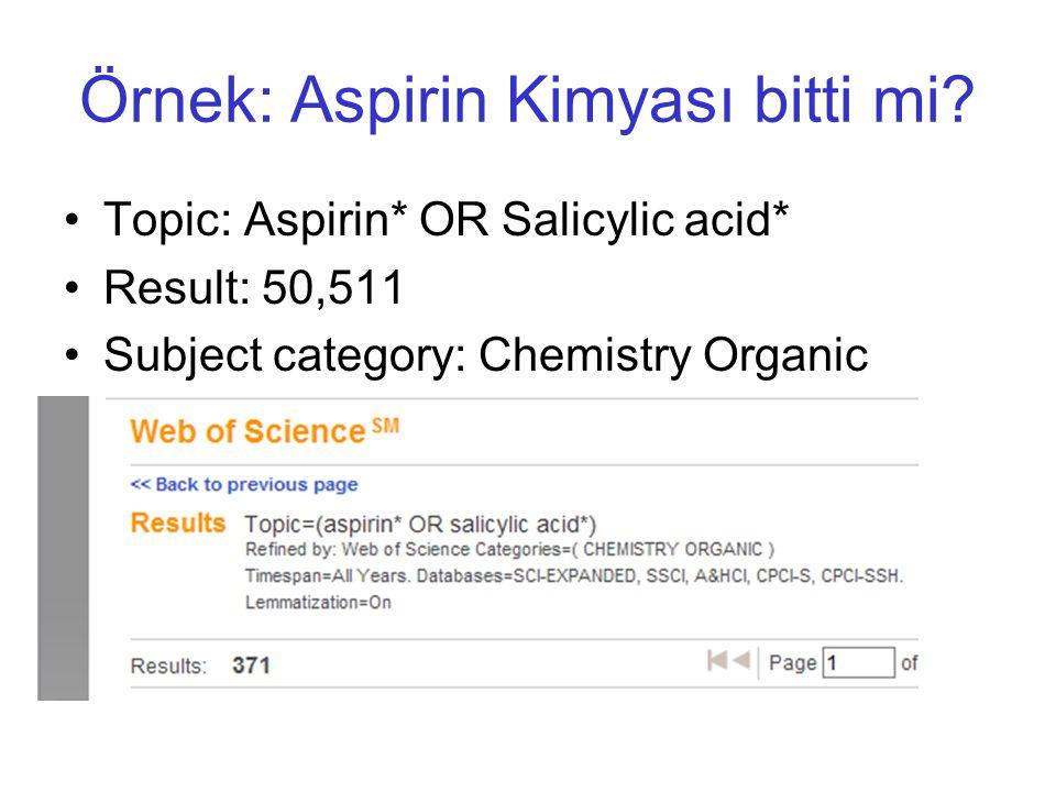 Örnek: Aspirin Kimyası bitti mi