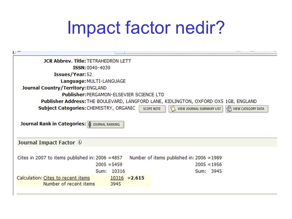 Impact factor nedir