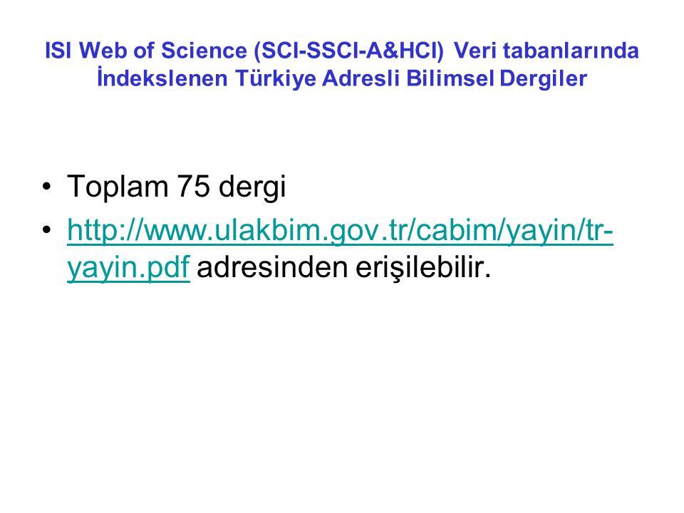 ISI Web of Science (SCI-SSCI-A&HCI) Veri tabanlarında İndekslenen Türkiye Adresli Bilimsel Dergiler