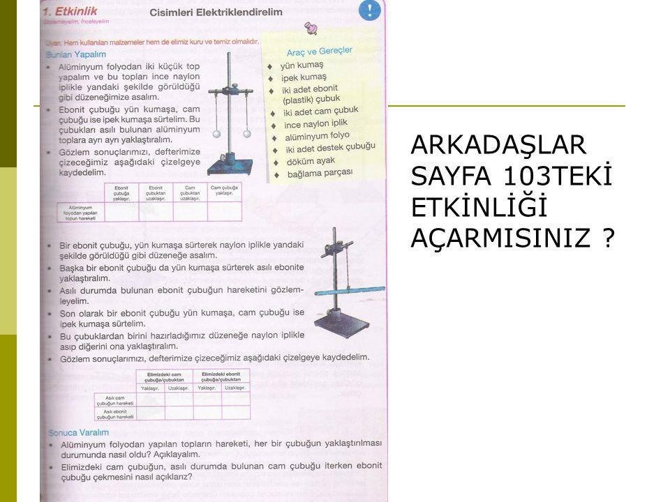 ARKADAŞLAR SAYFA 103TEKİ ETKİNLİĞİ AÇARMISINIZ