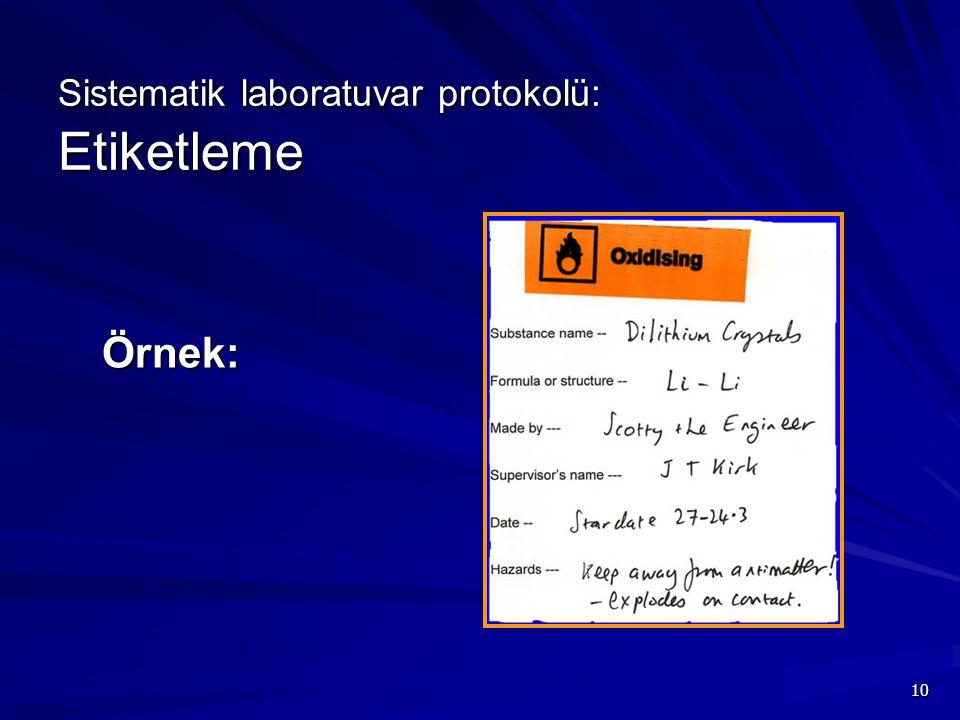 Sistematik laboratuvar protokolü: Etiketleme